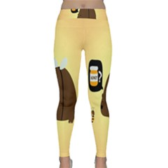 Bear Meet Bee Honey Animals Yellow Brown Classic Yoga Leggings