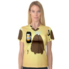 Bear Meet Bee Honey Animals Yellow Brown Women s V Neck Sport Mesh Tee