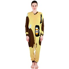 Bear Meet Bee Honey Animals Yellow Brown Onepiece Jumpsuit (ladies)
