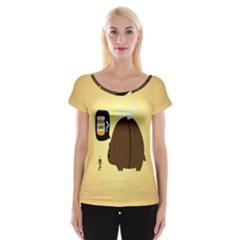 Bear Meet Bee Honey Animals Yellow Brown Women s Cap Sleeve Top