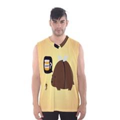 Bear Meet Bee Honey Animals Yellow Brown Men s Basketball Tank Top