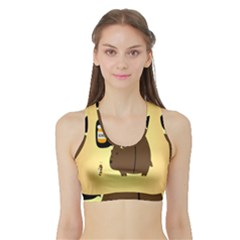 Bear Meet Bee Honey Animals Yellow Brown Sports Bra With Border