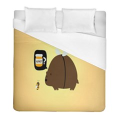 Bear Meet Bee Honey Animals Yellow Brown Duvet Cover (full/ Double Size)