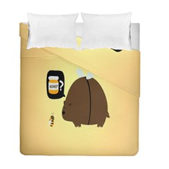 Bear Meet Bee Honey Animals Yellow Brown Duvet Cover Double Side (full/ Double Size)
