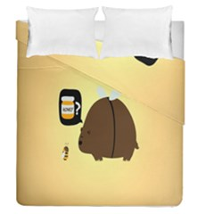 Bear Meet Bee Honey Animals Yellow Brown Duvet Cover Double Side (queen Size)
