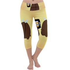 Bear Meet Bee Honey Animals Yellow Brown Capri Yoga Leggings