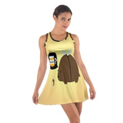 Bear Meet Bee Honey Animals Yellow Brown Cotton Racerback Dress
