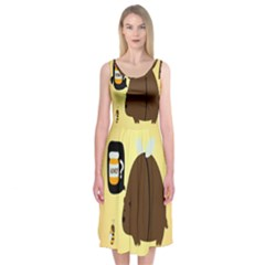 Bear Meet Bee Honey Animals Yellow Brown Midi Sleeveless Dress