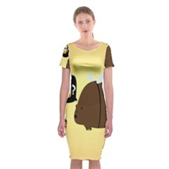 Bear Meet Bee Honey Animals Yellow Brown Classic Short Sleeve Midi Dress