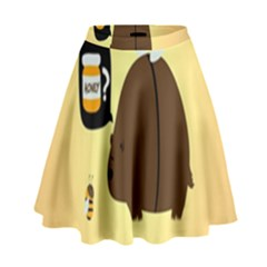 Bear Meet Bee Honey Animals Yellow Brown High Waist Skirt