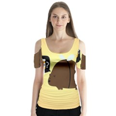 Bear Meet Bee Honey Animals Yellow Brown Butterfly Sleeve Cutout Tee