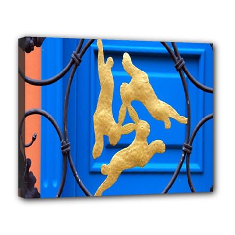 Animal Hare Window Gold Canvas 14  X 11