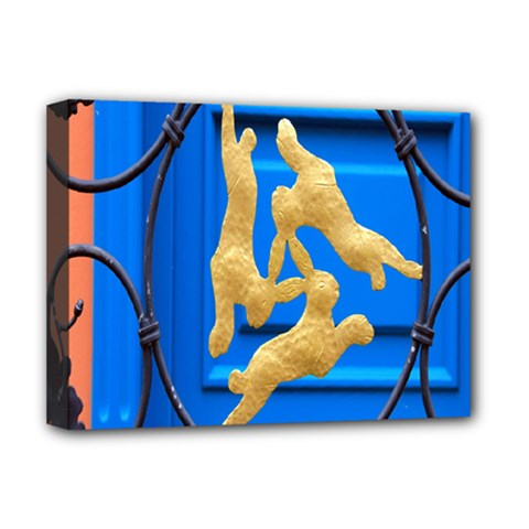 Animal Hare Window Gold Deluxe Canvas 16  X 12