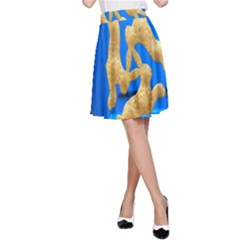 Animal Hare Window Gold A Line Skirt