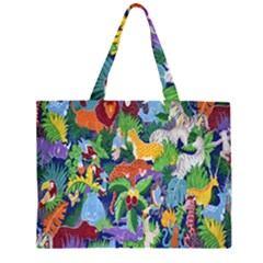 Animated Safari Animals Background Zipper Large Tote Bag by Nexatart