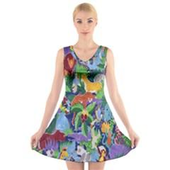 Animated Safari Animals Background V Neck Sleeveless Skater Dress by Nexatart