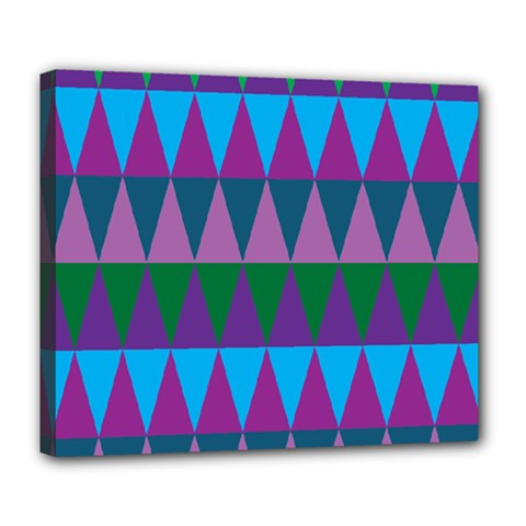 Blue Greens Aqua Purple Green Blue Plums Long Triangle Geometric Tribal Deluxe Canvas 24  X 20