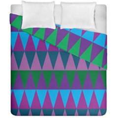 Blue Greens Aqua Purple Green Blue Plums Long Triangle Geometric Tribal Duvet Cover Double Side (california King Size)