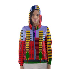City Skyscraper Buildings Color Car Orange Yellow Blue Green Brown Hooded Wind Breaker (women)