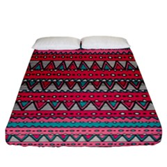 Aztec Geometric Red Chevron Wove Fabric Fitted Sheet (california King Size) by Alisyart