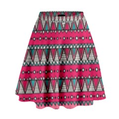 Aztec Geometric Red Chevron Wove Fabric High Waist Skirt by Alisyart