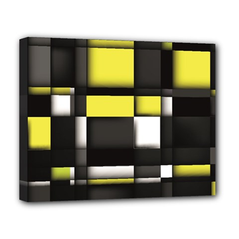 Color Geometry Shapes Plaid Yellow Black Deluxe Canvas 20  X 16   by Alisyart