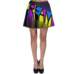 Dream Colors Neon Bright Words Letters Motivational Inspiration Text Statement Skater Skirt by Alisyart