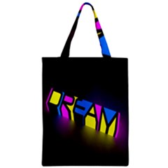 Dream Colors Neon Bright Words Letters Motivational Inspiration Text Statement Zipper Classic Tote Bag