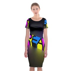 Dream Colors Neon Bright Words Letters Motivational Inspiration Text Statement Classic Short Sleeve Midi Dress