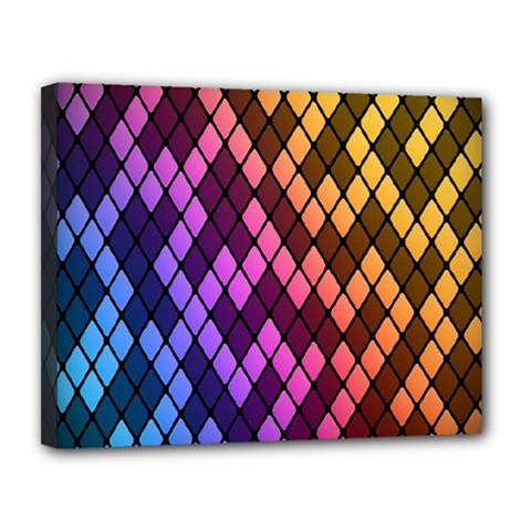Colorful Abstract Plaid Rainbow Gold Purple Blue Canvas 14  X 11  by Alisyart