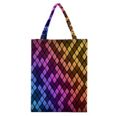 Colorful Abstract Plaid Rainbow Gold Purple Blue Classic Tote Bag by Alisyart