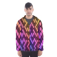 Colorful Abstract Plaid Rainbow Gold Purple Blue Hooded Wind Breaker (men) by Alisyart
