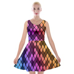 Colorful Abstract Plaid Rainbow Gold Purple Blue Velvet Skater Dress by Alisyart
