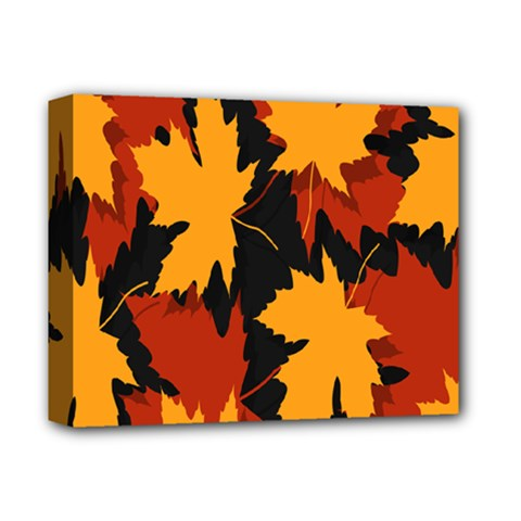 Dried Leaves Yellow Orange Piss Deluxe Canvas 14  X 11  by Alisyart