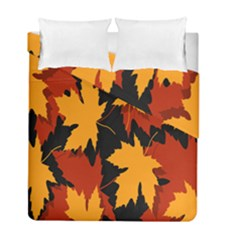 Dried Leaves Yellow Orange Piss Duvet Cover Double Side (full/ Double Size) by Alisyart