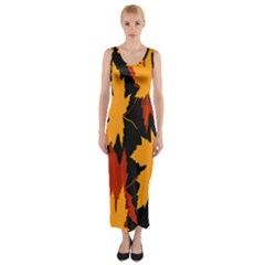 Dried Leaves Yellow Orange Piss Fitted Maxi Dress by Alisyart