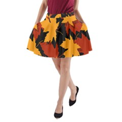 Dried Leaves Yellow Orange Piss A Line Pocket Skirt by Alisyart