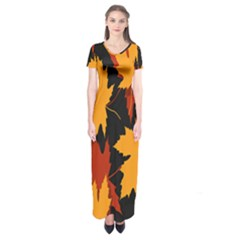 Dried Leaves Yellow Orange Piss Short Sleeve Maxi Dress by Alisyart