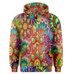 Colorful Abstract Flower Floral Sunflower Rose Star Rainbow Men s Zipper Hoodie by Alisyart