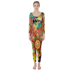 Colorful Abstract Flower Floral Sunflower Rose Star Rainbow Long Sleeve Catsuit by Alisyart