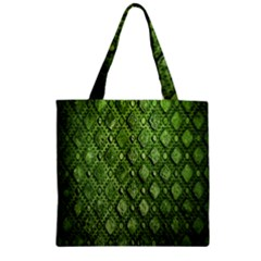 Circle Square Green Stone Zipper Grocery Tote Bag