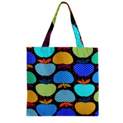 Fruit Apples Color Rainbow Green Blue Yellow Orange Zipper Grocery Tote Bag by Alisyart