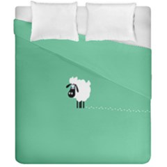 Goat Sheep Green White Animals Duvet Cover Double Side (california King Size) by Alisyart