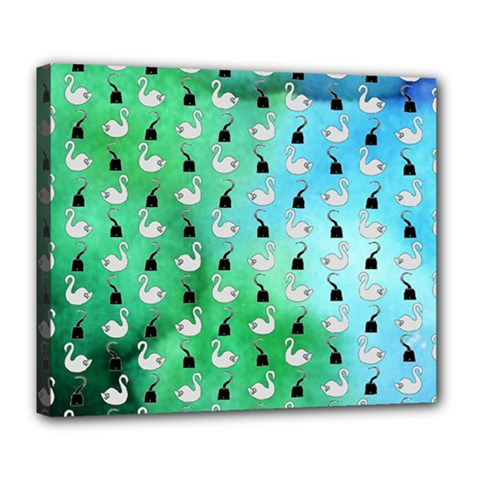 Goose Swan Hook Blue Green Deluxe Canvas 24  X 20   by Alisyart