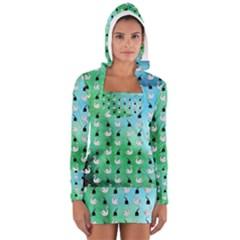 Goose Swan Hook Blue Green Women s Long Sleeve Hooded T Shirt by Alisyart