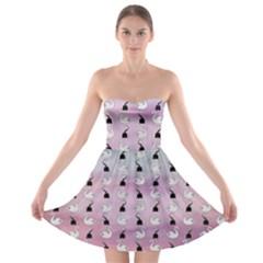 Goose Swan Hook Purple Strapless Bra Top Dress by Alisyart