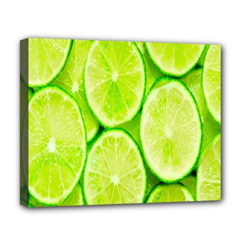 Green Lemon Slices Fruite Deluxe Canvas 20  X 16   by Alisyart