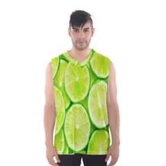 Green Lemon Slices Fruite Men s Basketball Tank Top by Alisyart