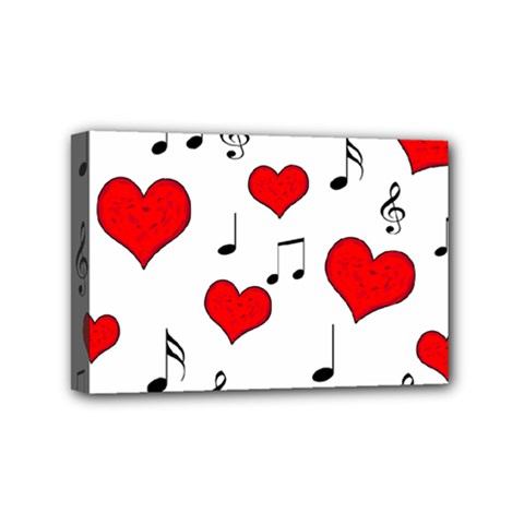 Love Song Pattern Mini Canvas 6  X 4  by Valentinaart