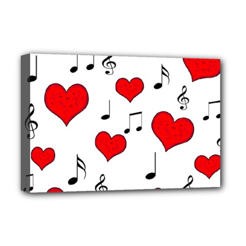 Love Song Pattern Deluxe Canvas 18  X 12   by Valentinaart